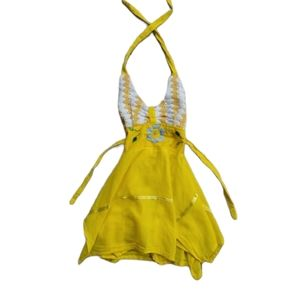 Yellow Kerchief Dress with Crocheted Top, 24m-2T